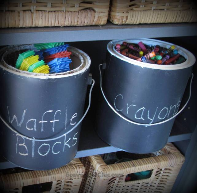 Recycling Paint Cans into Toy Storage