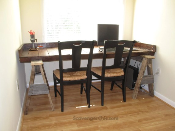 Pallet wood desk with pallet wood sawhorse legs, upcycled, recycled, repurposed