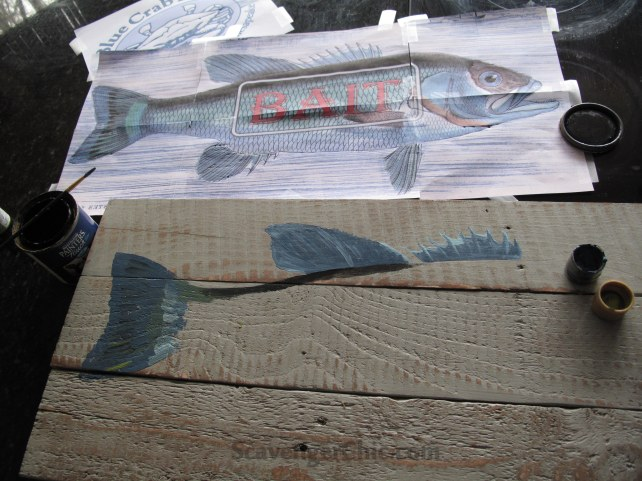 Vintage Style Fish Bait Sign, DIY Fish Sign, Pallet Wood Projects