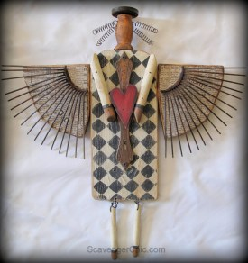 Primitive, Folk Art, Americana Angel made with recycled materials