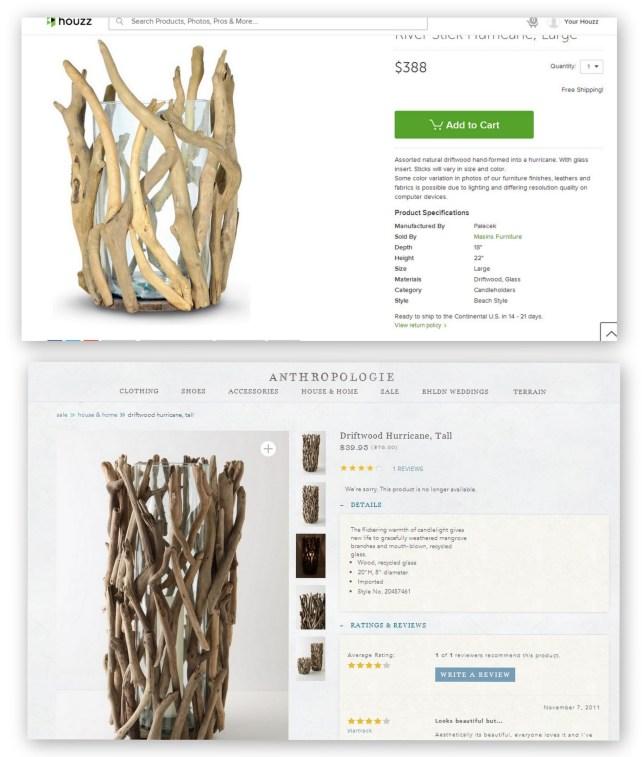 Driftwood Hurricane Lamps