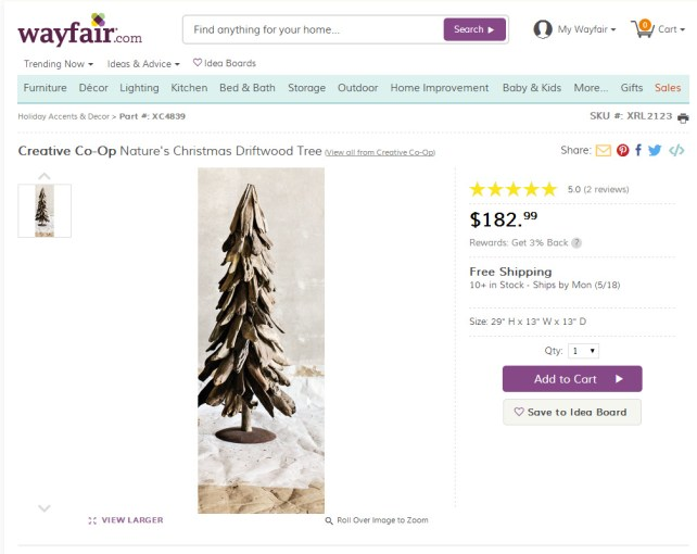 Creative Co-Op Nature's Christmas Driftwood Tree & Reviews  Wayfair - Google Chrome 5142015 72015 PM.bmp
