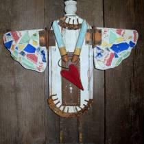 Junk Angel made from reclaimed wood, broken tile, doorknob plate 001