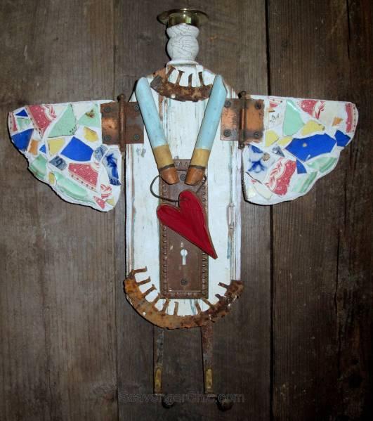 Junk Angel made from reclaimed wood, broken tile, doorknob plate 001