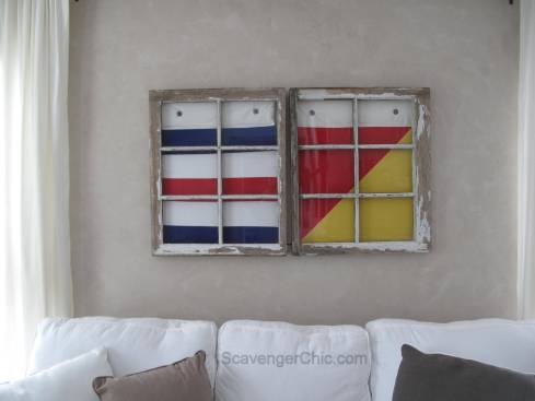 Nautical Signal Flag and Old Wooden Window Beach decor