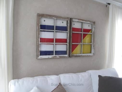 Nautical Signal Flags and Vintage Window wall decor