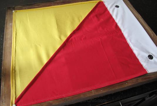 Signal Flag and Old Window beach decor, attaching the flag to the window