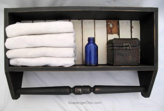 Spindle and Vintage beadboard bathroom Shelf