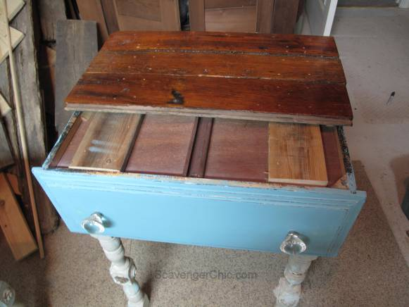 Repurposed Drawer side Table- hardwood flooring top