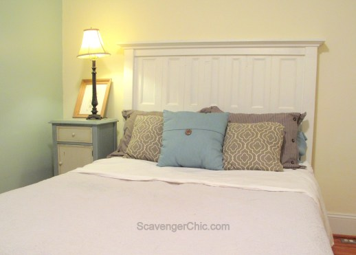 Headboard created from old shutters, upcycle, recycle
