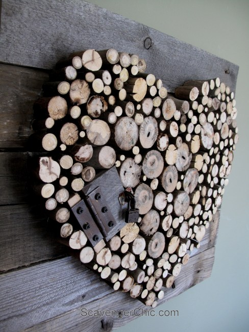 Pallet wood and sticks Valentines Heart diy