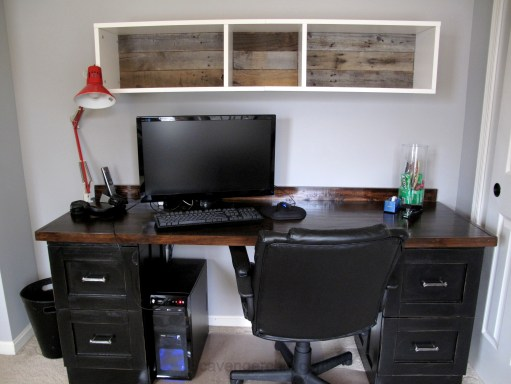 Teenage Boys Bedroom, over the desk shelves, IKEA hack, pallet wood backing for shelves