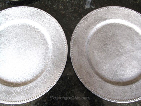 Create a faux tin plate from a plastic Charger, recycled charger