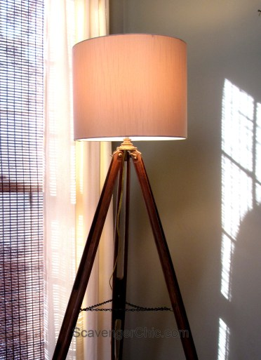 Vintage tripod floor lamp diy, surveyors tripod