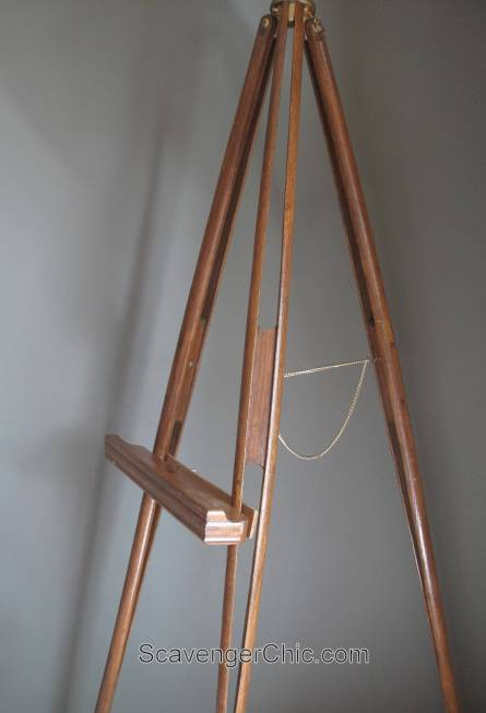 Wood surveyors tripod floor lamp scavenger chic for Surveyors floor lamp wood