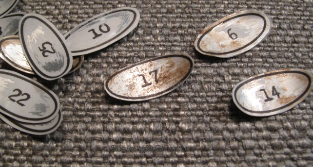 DIY Vintage Metal Numbers  for cubby organizer shelves