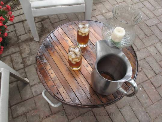 Pallet Wood Butcher Block Top over a  Galvanized Wash Tub, small outdoor table-014