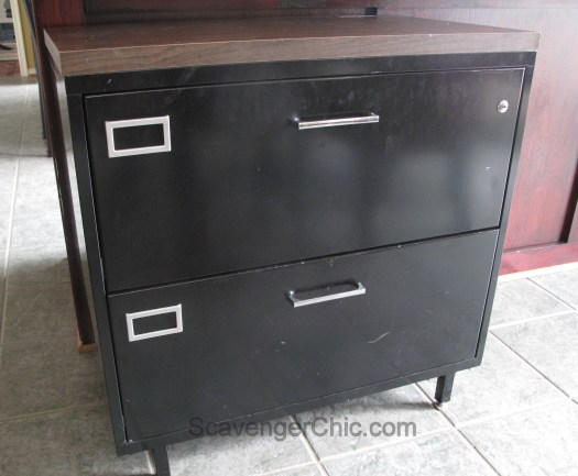 Steel File Cabinet Makeover - Faux Architectural flat file cabinet