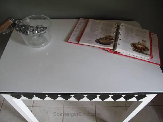 Vintage Black and White Enamel Table Makeover-011