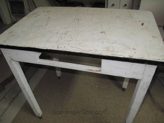 Vintage Black and White Enamel Table makeover