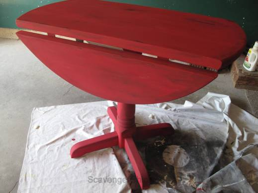 Little Red Drop Leaf Table-005