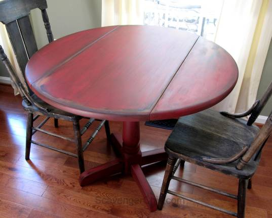 Little Red Drop Leaf Table-007