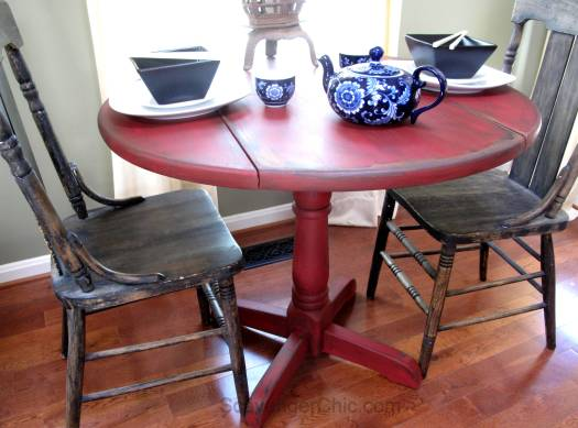 Little Red Drop Leaf Table-010