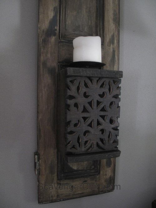 Recycled Shutters and Candles Wall Sconce-010