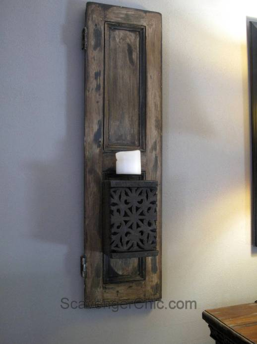 Recycled Shutters and Candles Wall Sconce-013
