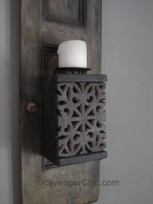 Recycled Shutters and Candles Wall Sconce-014