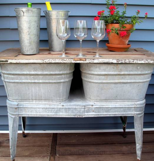 Recycled Wash tubs and Old Door Side Table-004