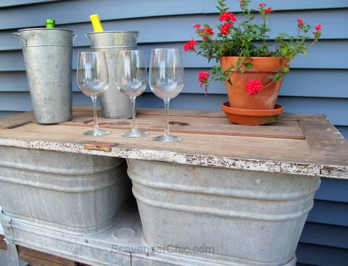 Recycled Wash tubs and Old Door Side Table-005