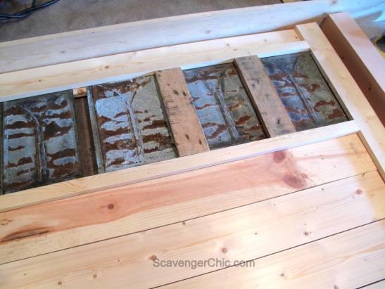 Upcycled Roofing Tin Shingles Headboard diy-005