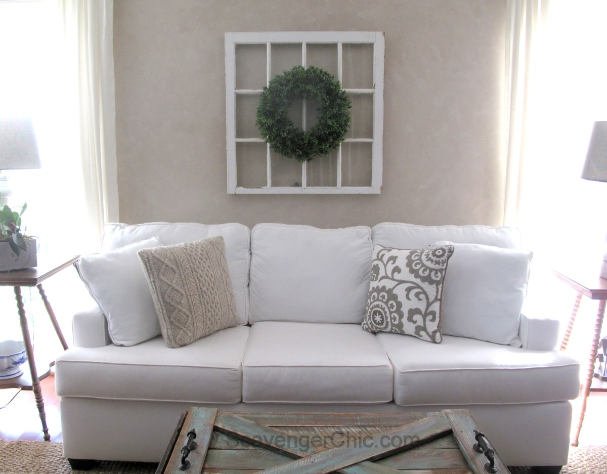 DIY Boxwood Wreath And Vintage Window Scavenger Chic