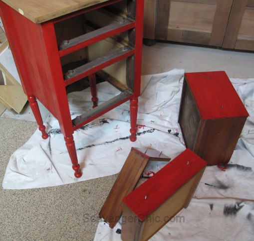 Martha Washington Sewing Table, Little Red Side Table