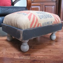 Recycled Feed Bag Ottoman