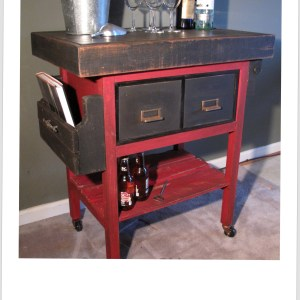 Metal File Box Bar Cart