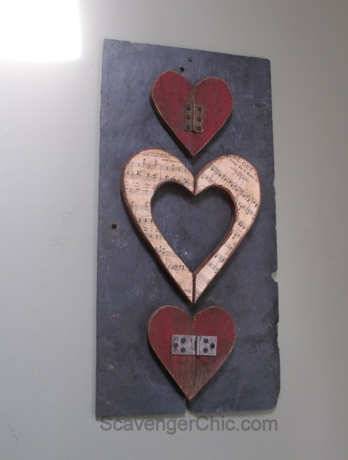 Valentine wooden heart -Pallet wood, slate, vintage music sheets Upcycle