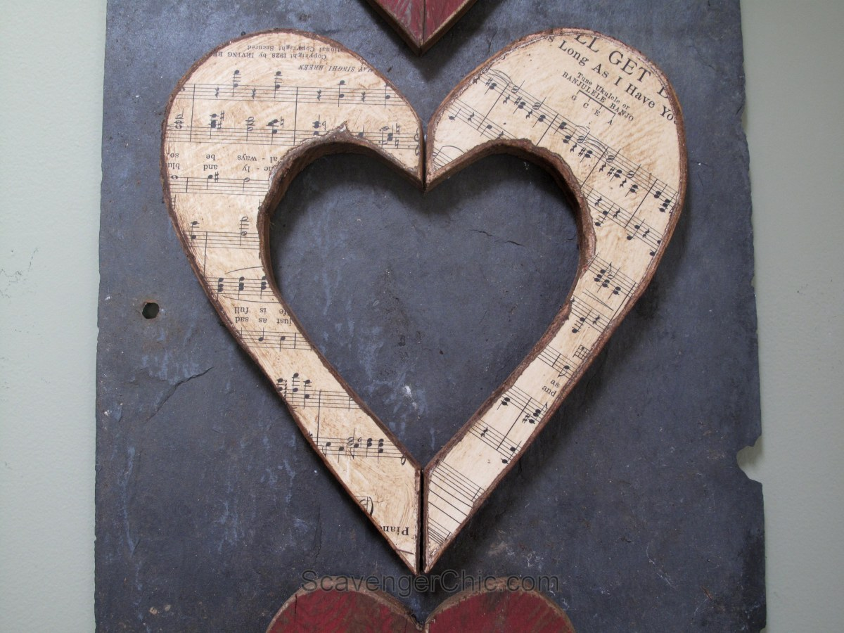 Pallet Wood And Slate Hearts Scavenger Chic