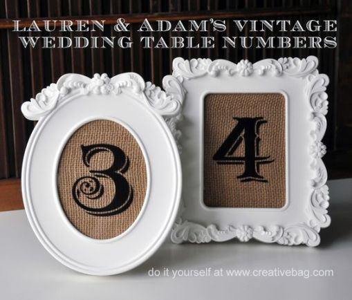 Wedding Table Numbers in White Frames with burlap