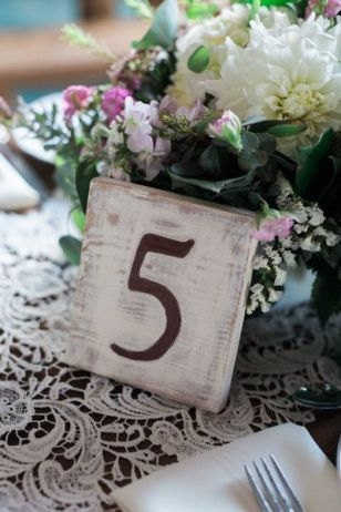 White washed barn wood Table Number