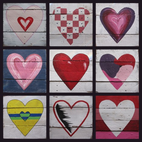 Family Fun, Painted Pallet Wood Hearts
