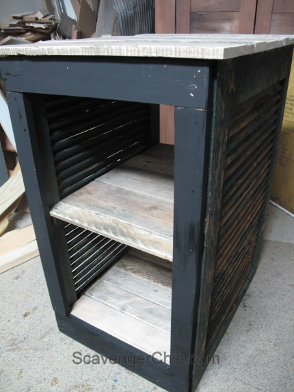Upcycled Shutter and Pallet Wood Serving Cart, Bar Cart
