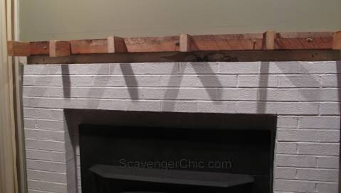 DIY Fireplace Mantel , faux railroad tie