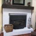 DIY Fireplace mantel, faux railroad tie