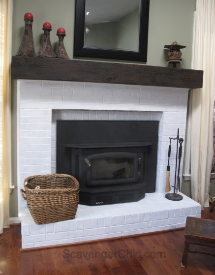 DIY Fireplace mantel, faux railroad tie