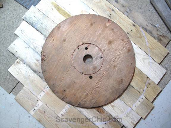 Giant Wall Clock, Recycled Wire Spool