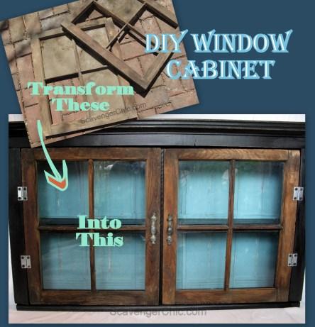 DIY Vintage Windows Wall Cabinet