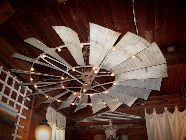 Upcycled Farmhouse windmill light fixture