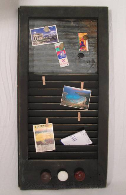 DIY memo board, upcycled vintage shutter and corrugated metal